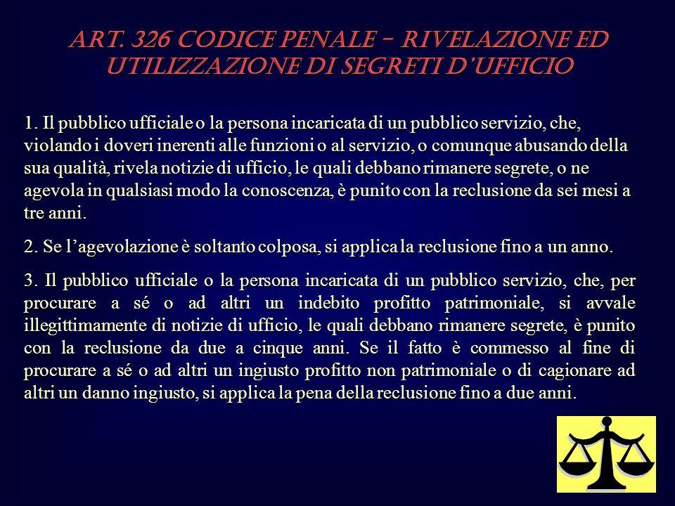 Art.326 Codice Penale - Rivelazione ed utilizzazione di segreti dufficio 1.
