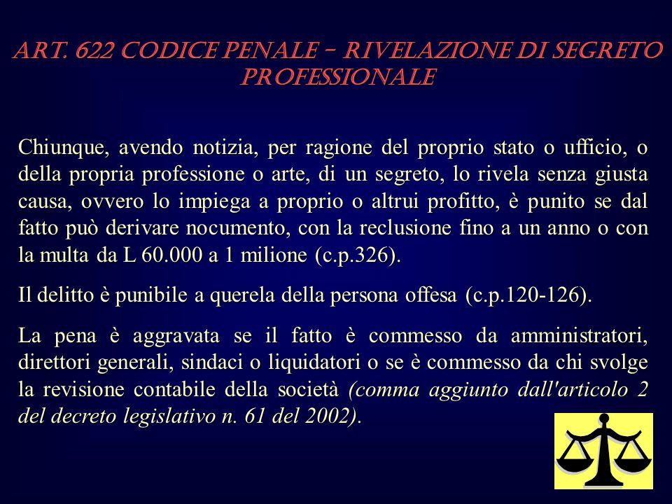Art. 622 Codice Penale - Rivelazione di segreto professionale Chiunque, avendo notizia, per ragione del proprio stato o ufficio, o della propria profe