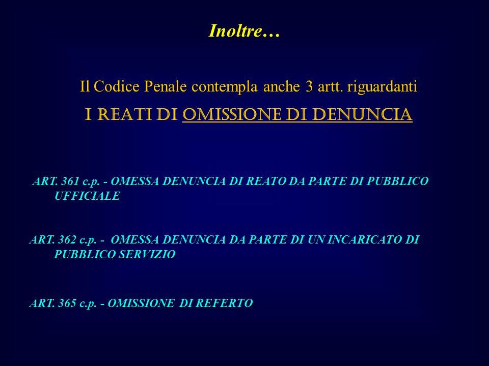 Il Codice Penale contempla anche 3 artt.riguardanti I REATI DI OMISSIONE DI DENUNCIA ART.