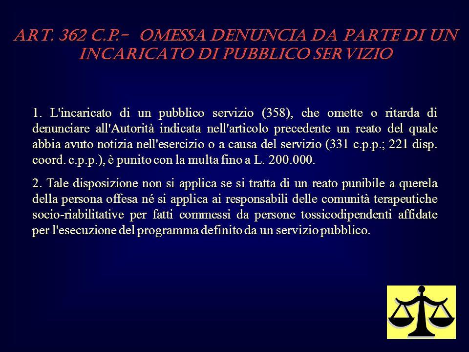 1. L'incaricato di un pubblico servizio (358), che omette o ritarda di denunciare all'Autorità indicata nell'articolo precedente un reato del quale ab