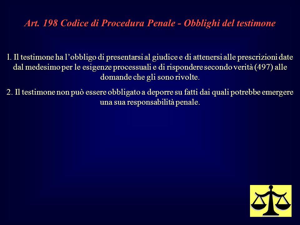Art.198 Codice di Procedura Penale - Obblighi del testimone l.