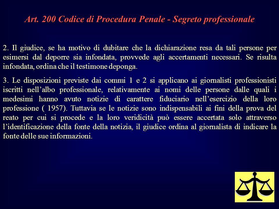 Art.200 Codice di Procedura Penale - Segreto professionale 2.