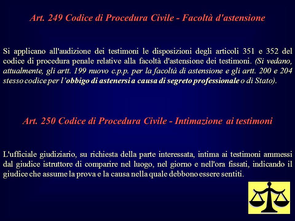 Art. 249 Codice di Procedura Civile - Facoltà d'astensione Si applicano all'audizione dei testimoni le disposizioni degli articoli 351 e 352 del codic
