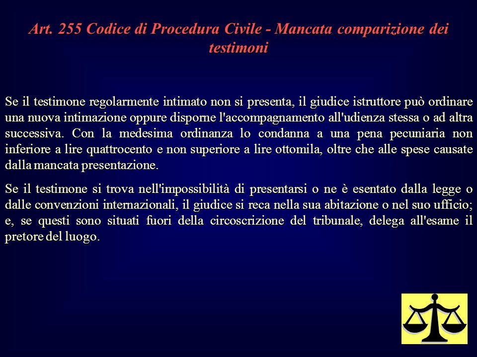 Art. 255 Codice di Procedura Civile - Mancata comparizione dei testimoni Se il testimone regolarmente intimato non si presenta, il giudice istruttore