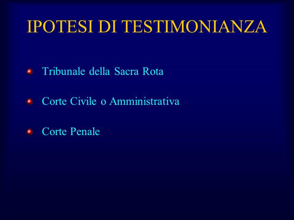 IPOTESI DI TESTIMONIANZA Tribunale della Sacra Rota Corte Civile o Amministrativa Corte Penale