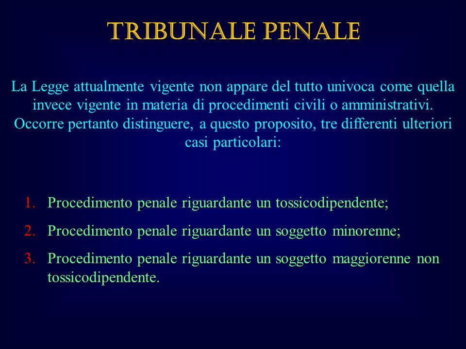 TRIBUNALE PENALE La Legge attualmente vigente non appare del tutto univoca come quella invece vigente in materia di procedimenti civili o amministrativi.