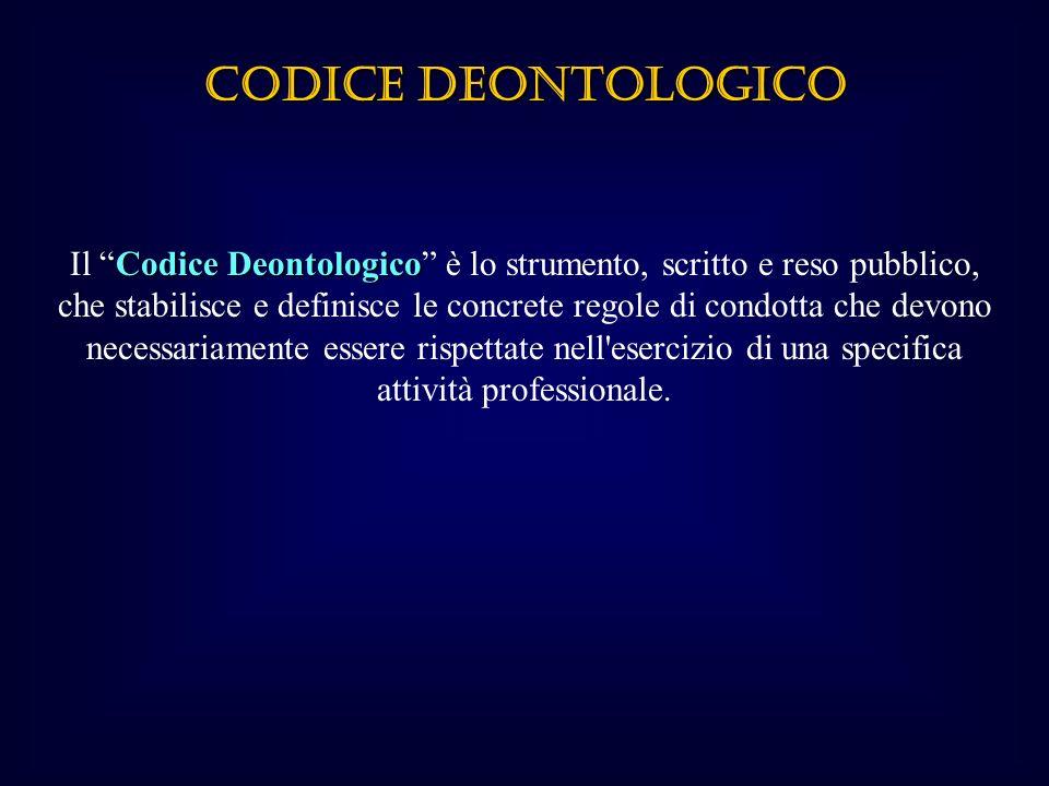 CODICE DEONTOLOGICO CodiceDeontologico Il Codice Deontologico è lo strumento, scritto e reso pubblico, che stabilisce e definisce le concrete regole di condotta che devono necessariamente essere rispettate nell esercizio di una specifica attività professionale.