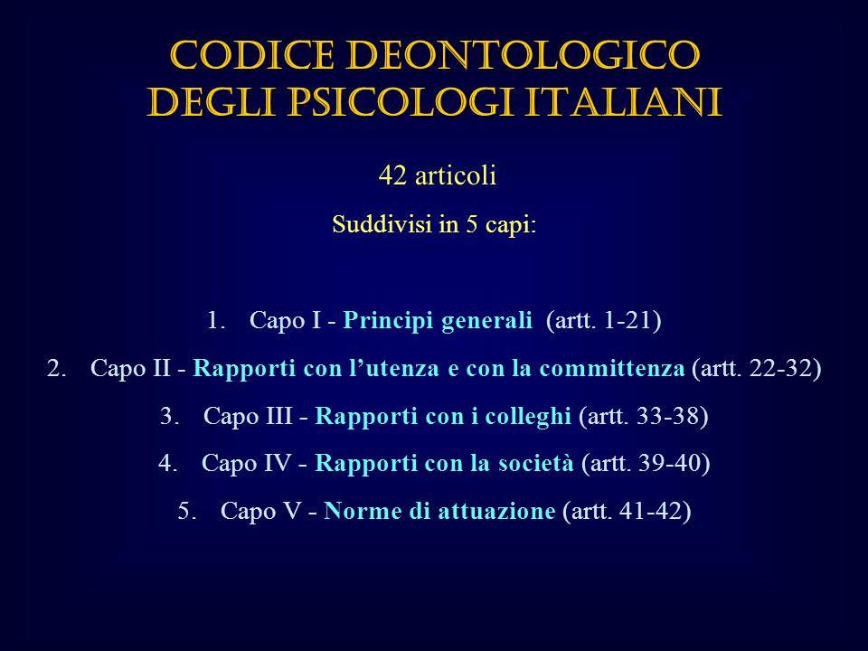 42 articoli Suddivisi in 5 capi: 1.Capo I - Principi generali (artt.