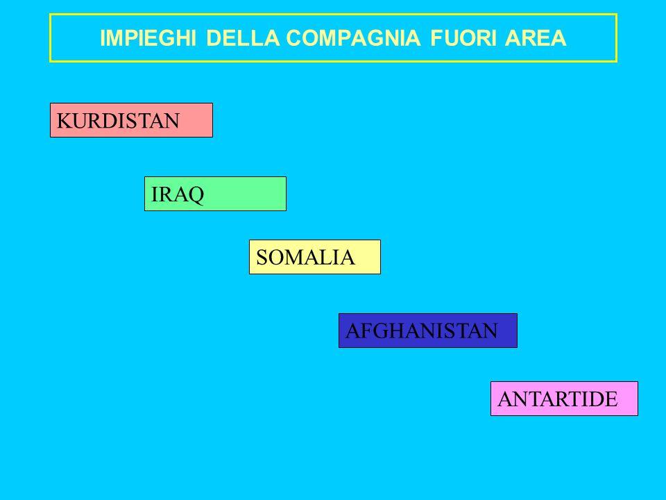 IMPIEGHI DELLA COMPAGNIA FUORI AREA SOMALIA IRAQ AFGHANISTAN ANTARTIDE KURDISTAN