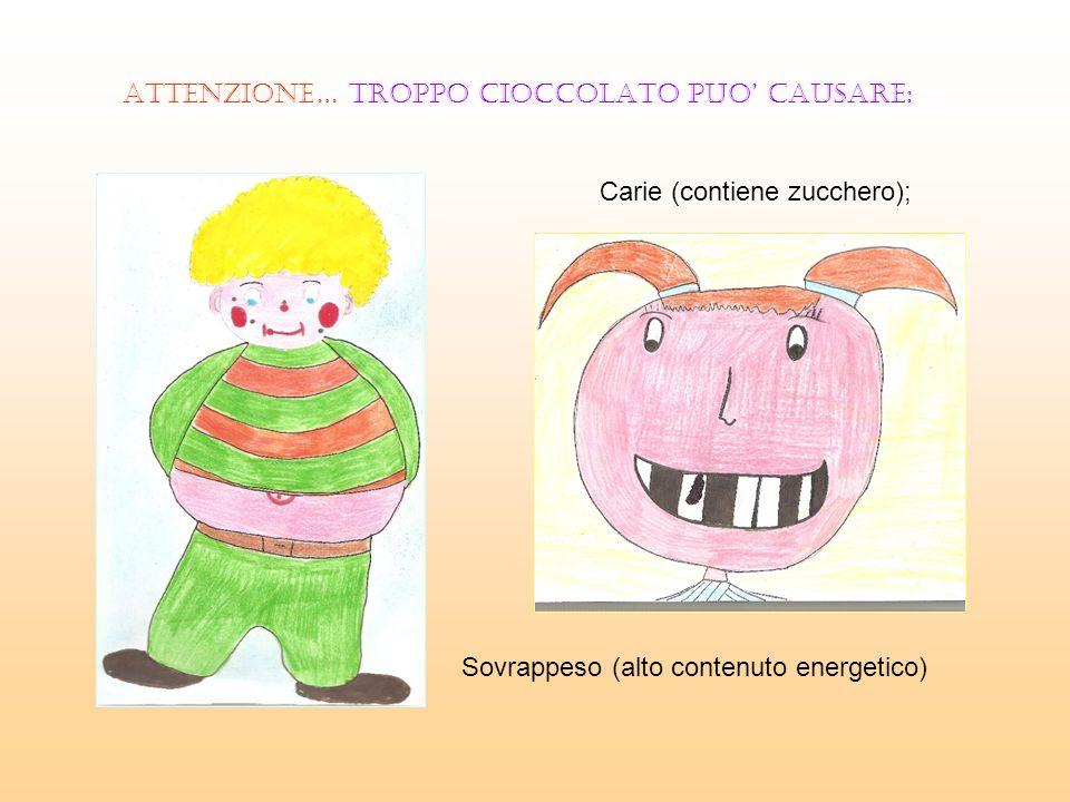 ATTENZIONE… TROPPO CIOCCOLATO PUO CAUSARE: Carie (contiene zucchero); Sovrappeso (alto contenuto energetico)
