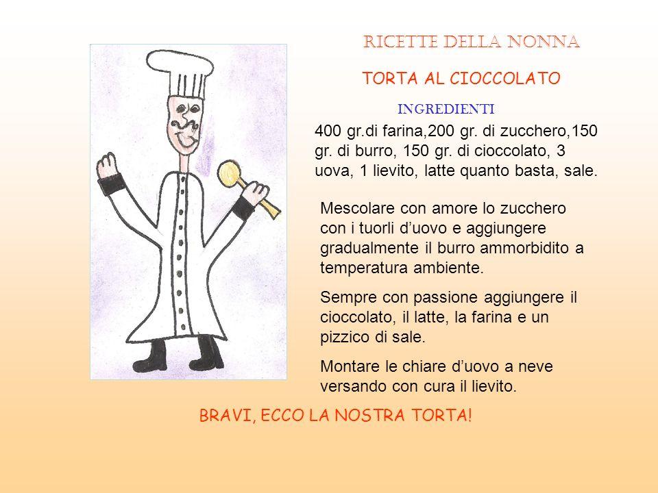 RICETTE DELLA NONNA TORTA AL CIOCCOLATO INGREDIENTI 400 gr.di farina,200 gr. di zucchero,150 gr. di burro, 150 gr. di cioccolato, 3 uova, 1 lievito, l