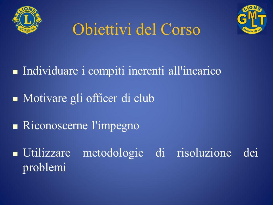 Obiettivi del corso (segue) Incoraggiare i club a stabilire degli obiettivi Comunicare informazioni agli officer di club Gestire la comunicazione Utilizzare le risorse del LCI