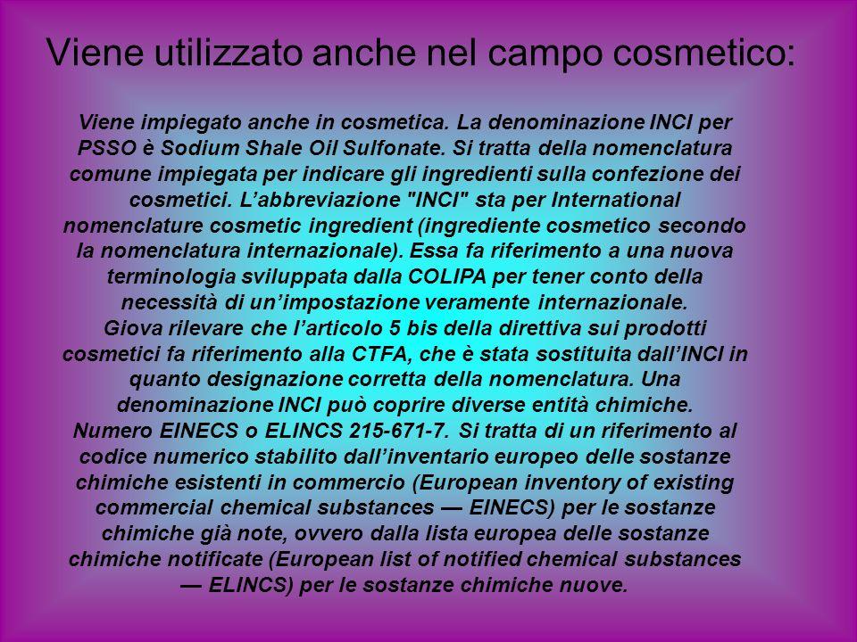 Viene utilizzato anche nel campo cosmetico: Viene impiegato anche in cosmetica. La denominazione INCI per PSSO è Sodium Shale Oil Sulfonate. Si tratta