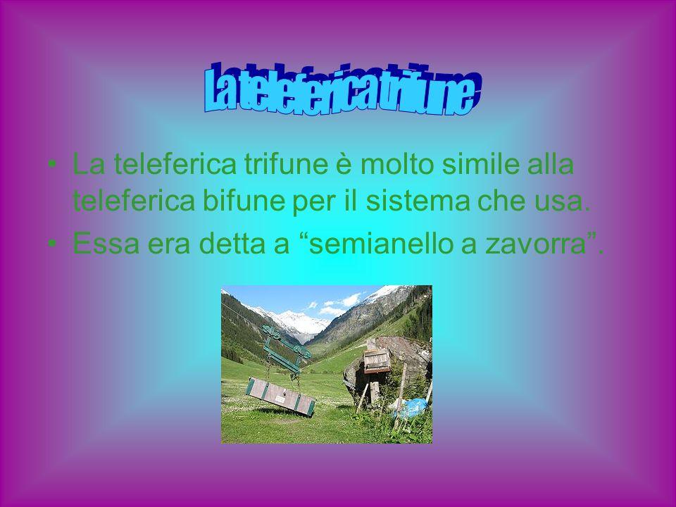 La teleferica trifune è molto simile alla teleferica bifune per il sistema che usa. Essa era detta a semianello a zavorra.