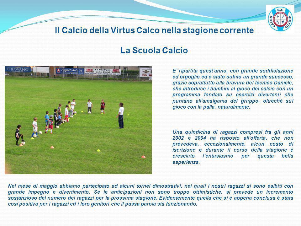 Il Calcio della Virtus Calco nella stagione corrente La Scuola Calcio E ripartita questanno, con grande soddisfazione ed orgoglio ed è stato subito un