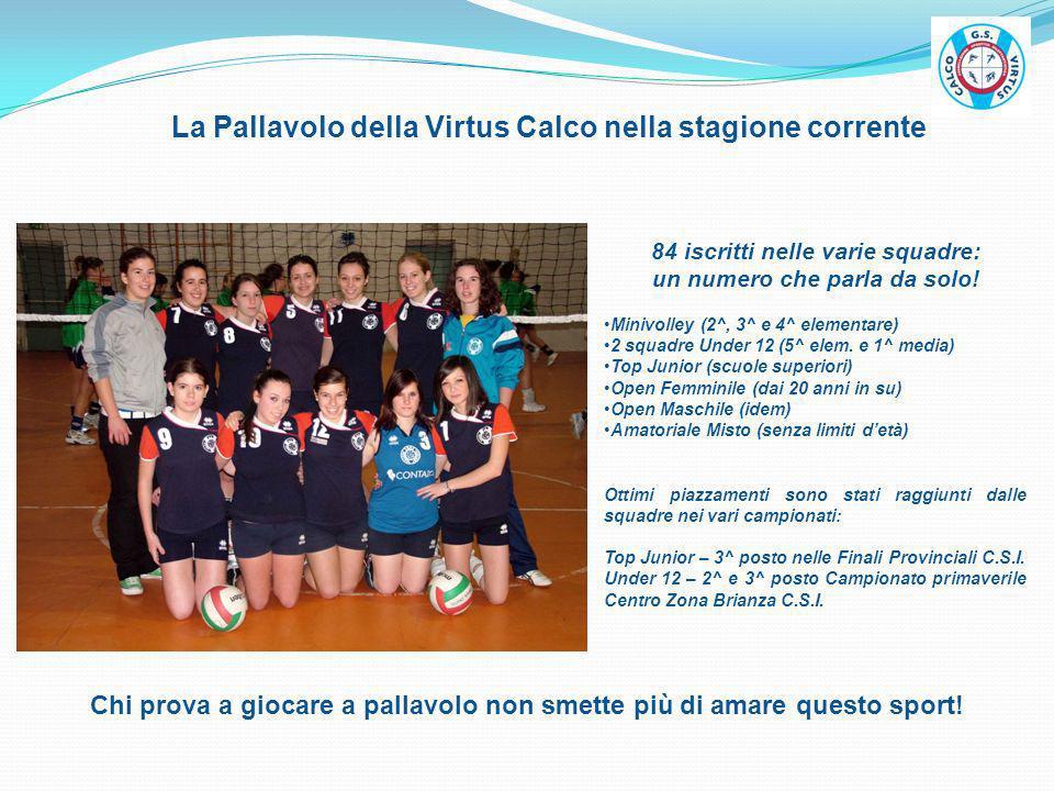 La Pallavolo della Virtus Calco nella stagione corrente 84 iscritti nelle varie squadre: un numero che parla da solo! Minivolley (2^, 3^ e 4^ elementa