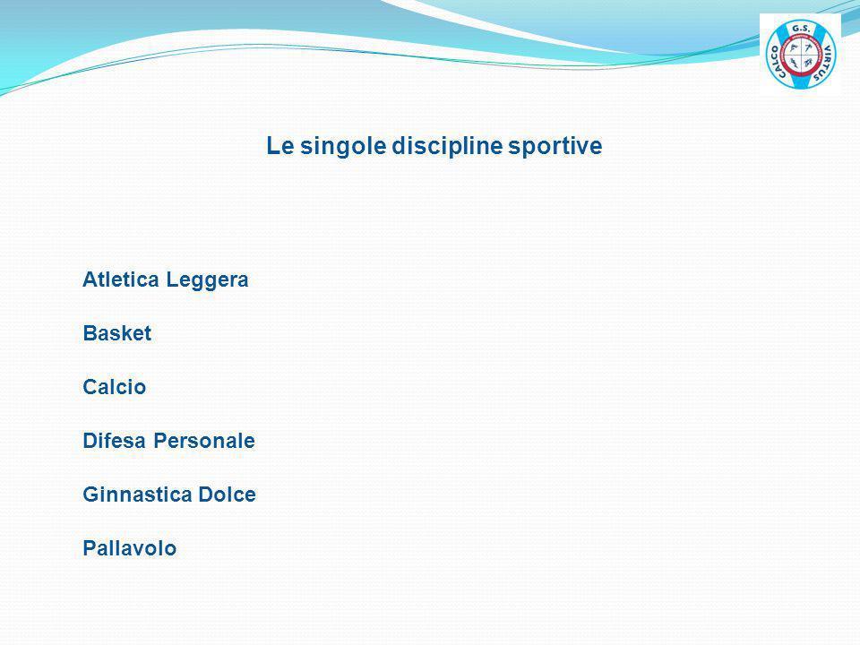 Le singole discipline sportive Atletica Leggera Calcio Difesa Personale Pallavolo Basket Ginnastica Dolce