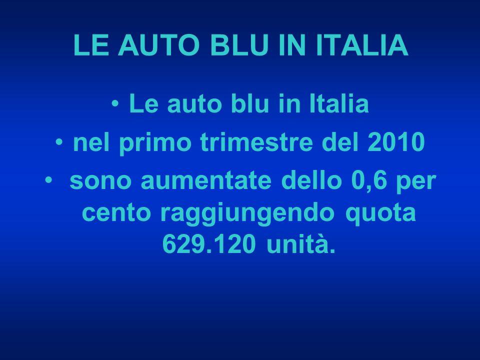 LE AUTO BLU IN ITALIA Le auto blu in Italia nel primo trimestre del 2010 sono aumentate dello 0,6 per cento raggiungendo quota 629.120 unità.
