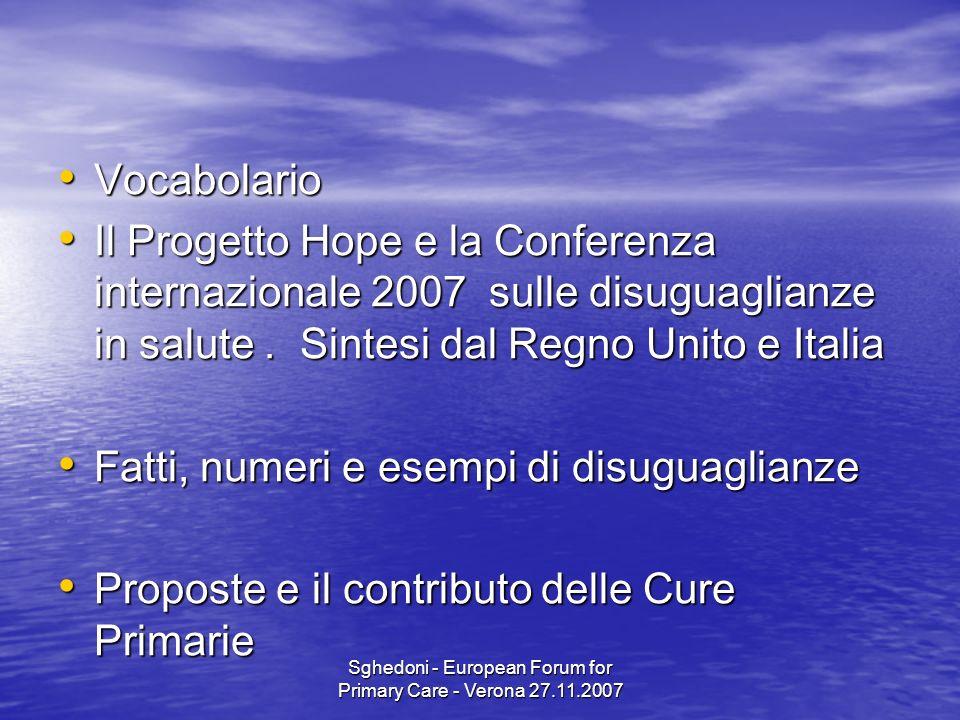 Sghedoni - European Forum for Primary Care - Verona 27.11.2007 Vocabolario Vocabolario Il Progetto Hope e la Conferenza internazionale 2007 sulle disuguaglianze in salute.