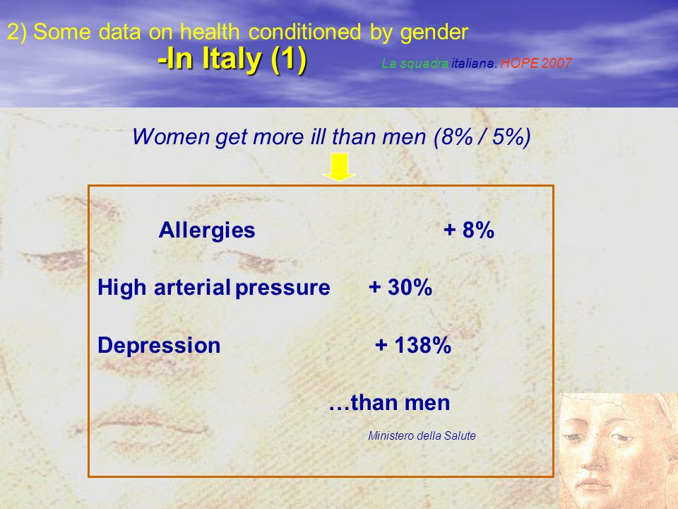 -In Italy (1) 2) Some data on health conditioned by gender -In Italy (1) La squadra italiana.