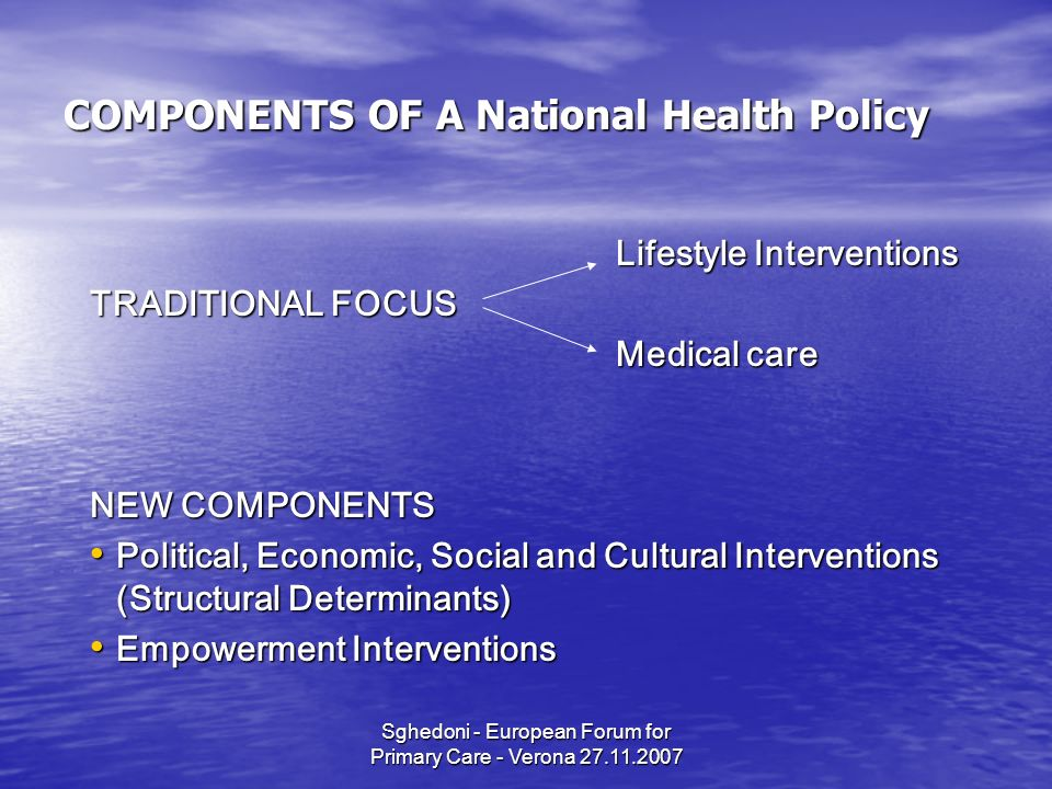 Sghedoni - European Forum for Primary Care - Verona 27.11.2007 COMPONENTS OF A National Health Policy Lifestyle Interventions TRADITIONAL FOCUS Medical care NEW COMPONENTS Political, Economic, Social and Cultural Interventions (Structural Determinants) Political, Economic, Social and Cultural Interventions (Structural Determinants) Empowerment Interventions Empowerment Interventions