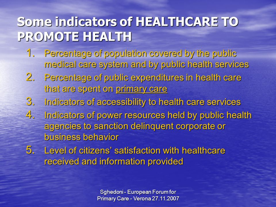 Sghedoni - European Forum for Primary Care - Verona 27.11.2007 Some indicators of HEALTHCARE TO PROMOTE HEALTH 1.