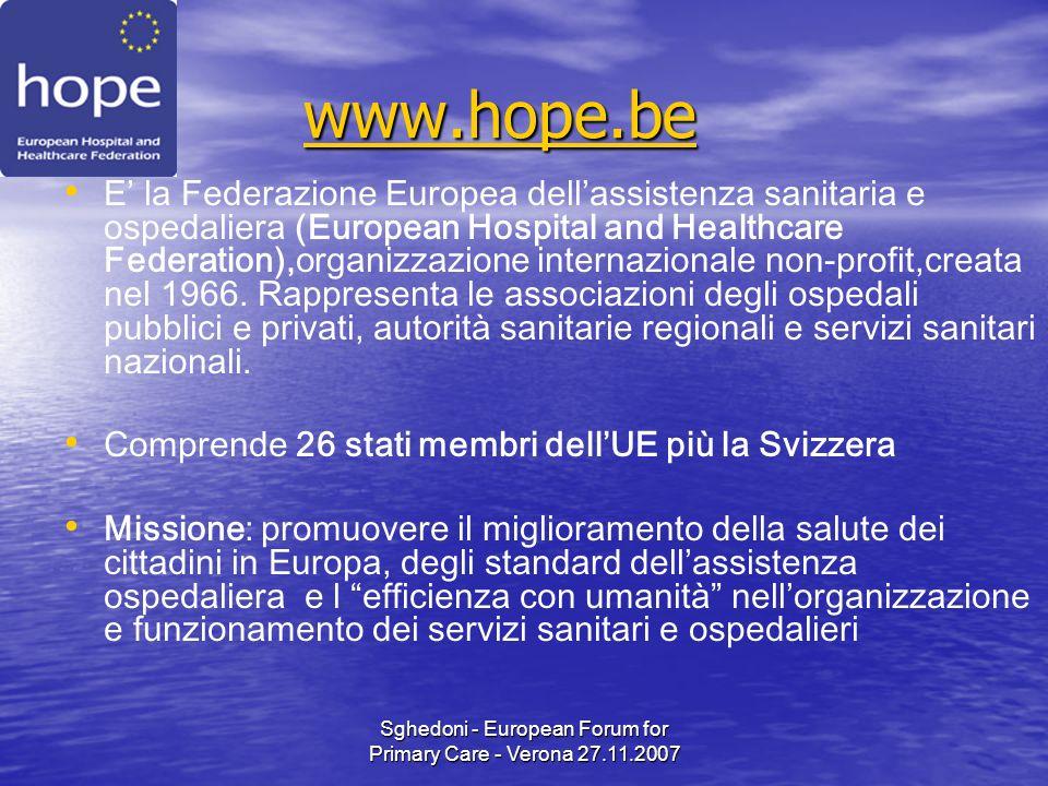 Sghedoni - European Forum for Primary Care - Verona 27.11.2007 www.hope.be www.hope.bewww.hope.be E la Federazione Europea dellassistenza sanitaria e ospedaliera (European Hospital and Healthcare Federation),organizzazione internazionale non-profit,creata nel 1966.