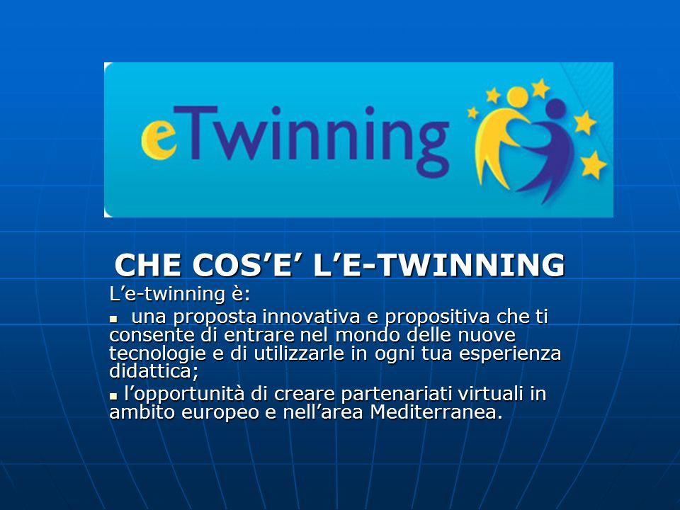 CHE COSE LE-TWINNING Le-twinning è: una proposta innovativa e propositiva che ti consente di entrare nel mondo delle nuove tecnologie e di utilizzarle in ogni tua esperienza didattica; una proposta innovativa e propositiva che ti consente di entrare nel mondo delle nuove tecnologie e di utilizzarle in ogni tua esperienza didattica; lopportunità di creare partenariati virtuali in ambito europeo e nellarea Mediterranea.