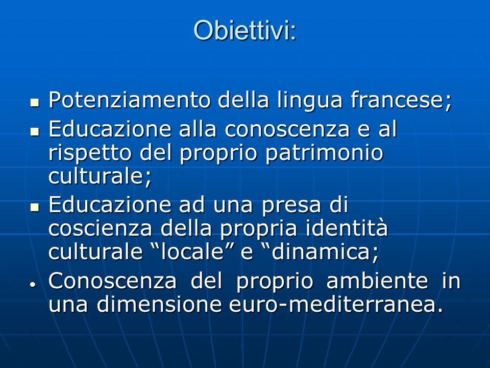 Obiettivi: Potenziamento della lingua francese; Potenziamento della lingua francese; Educazione alla conoscenza e al rispetto del proprio patrimonio c