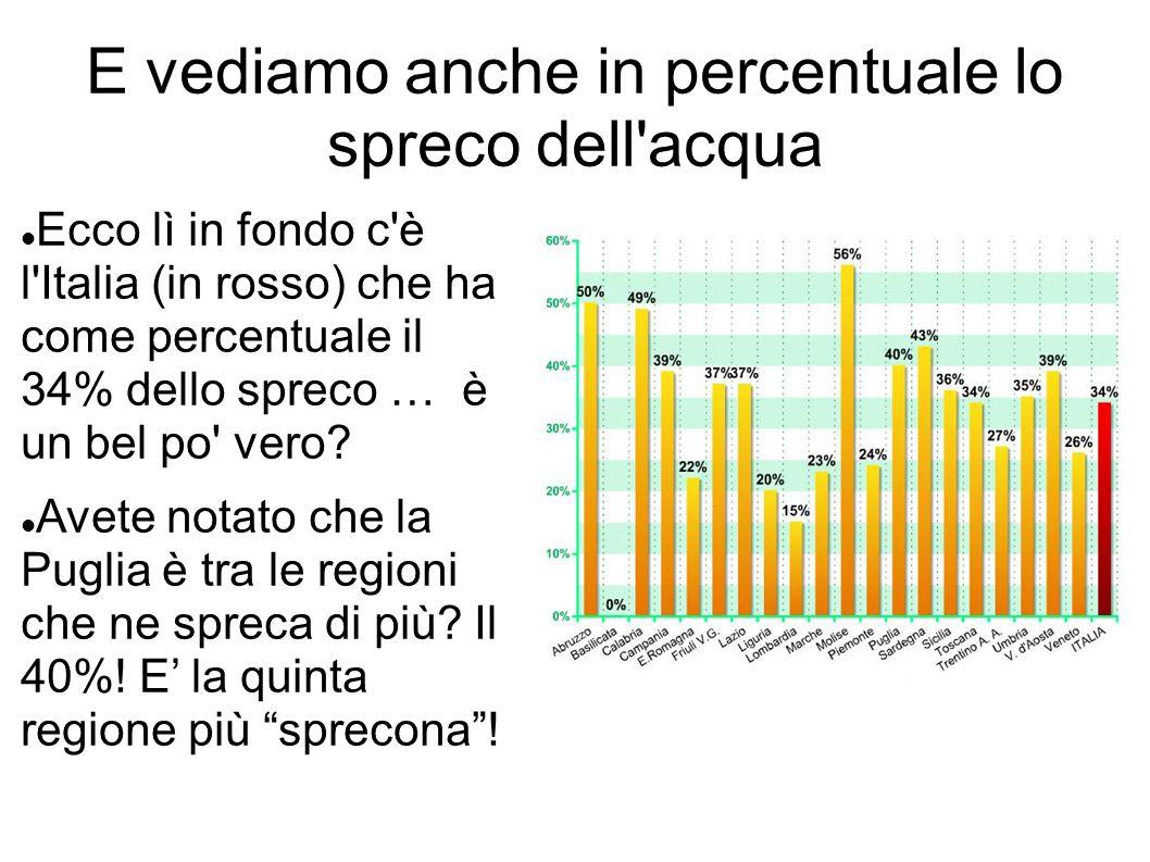 E vediamo anche in percentuale lo spreco dell'acqua Ecco lì in fondo c'è l'Italia (in rosso) che ha come percentuale il 34% dello spreco … è un bel po