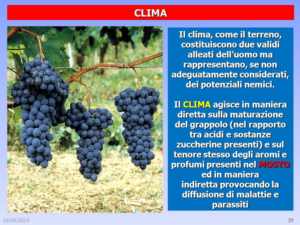 16/05/201439 CLIMA Il clima, come il terreno, costituiscono due validi alleati delluomo ma rappresentano, se non adeguatamente considerati, dei potenz