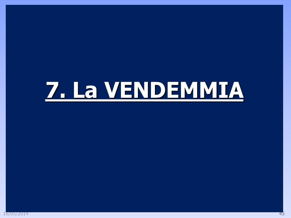 16/05/201445 7. La VENDEMMIA