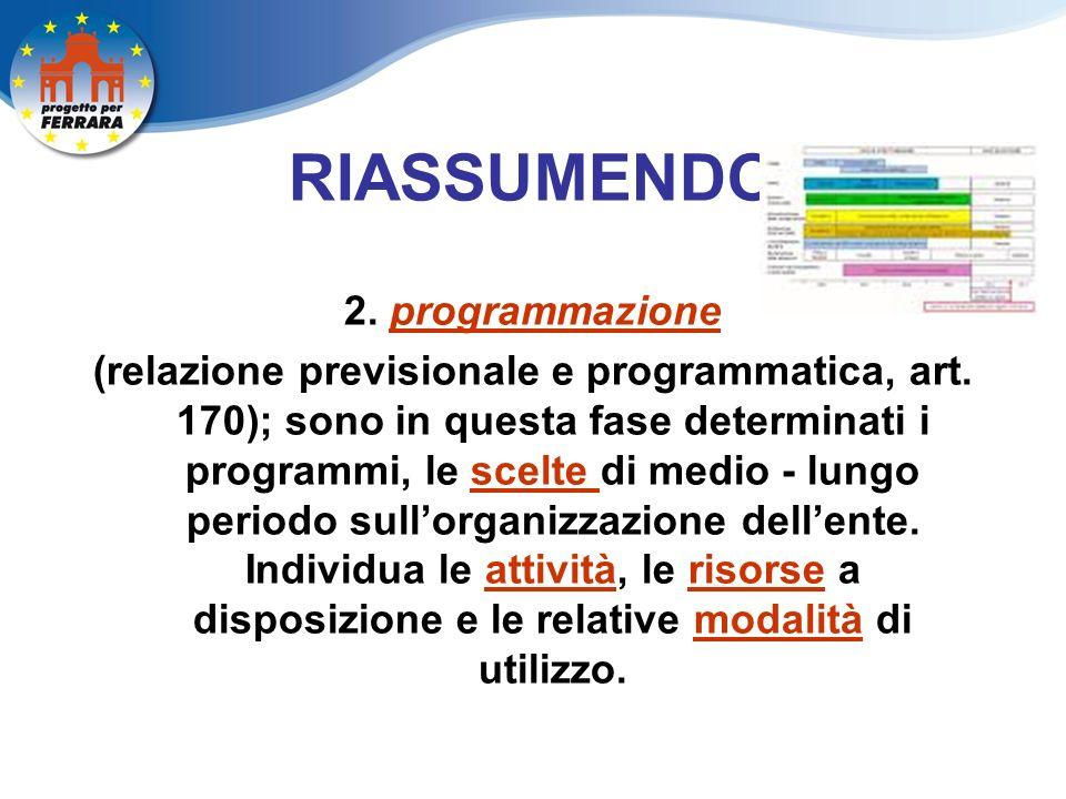RIASSUMENDO 2. programmazione (relazione previsionale e programmatica, art.
