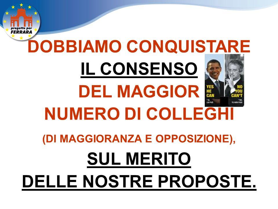 DOBBIAMO CONQUISTARE IL CONSENSO DEL MAGGIOR NUMERO DI COLLEGHI (DI MAGGIORANZA E OPPOSIZIONE), SUL MERITO DELLE NOSTRE PROPOSTE.