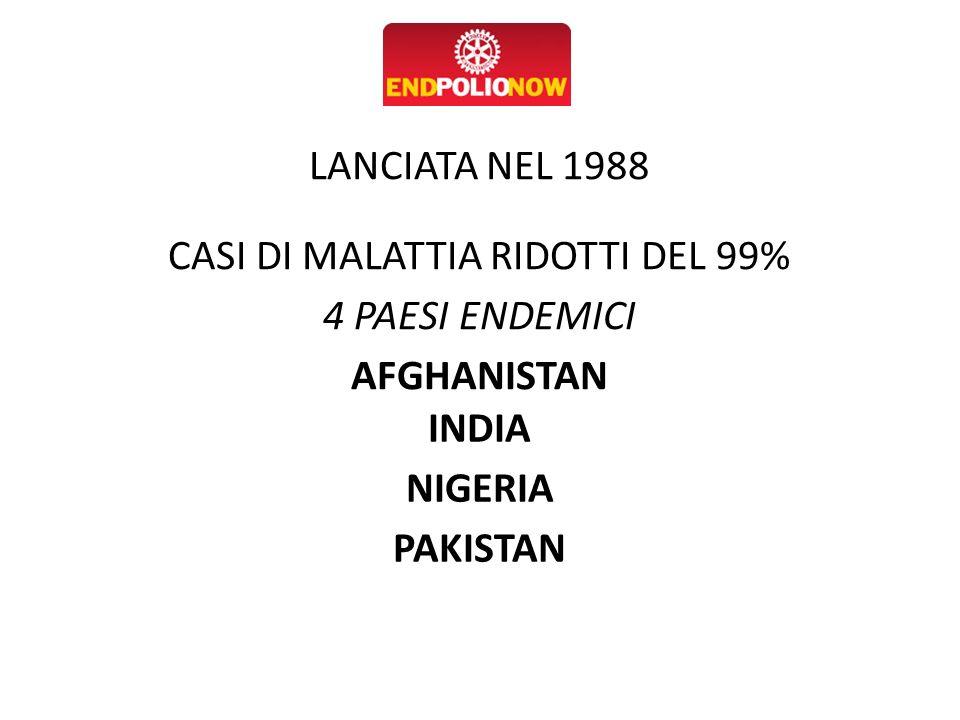 LANCIATA NEL 1988 CASI DI MALATTIA RIDOTTI DEL 99% 4 PAESI ENDEMICI AFGHANISTAN INDIA NIGERIA PAKISTAN