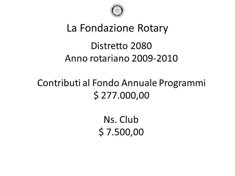 La Fondazione Rotary Distretto 2080 Anno rotariano 2009-2010 Contributi al Fondo Annuale Programmi $ 277.000,00 Ns. Club $ 7.500,00