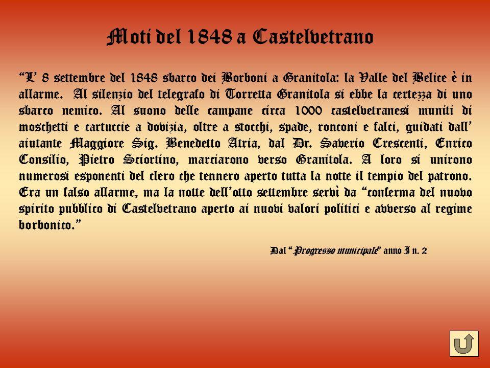Moti del 1848 a Castelvetrano L 8 settembre del 1848 sbarco dei Borboni a Granitola: la Valle del Belice è in allarme. Al silenzio del telegrafo di To