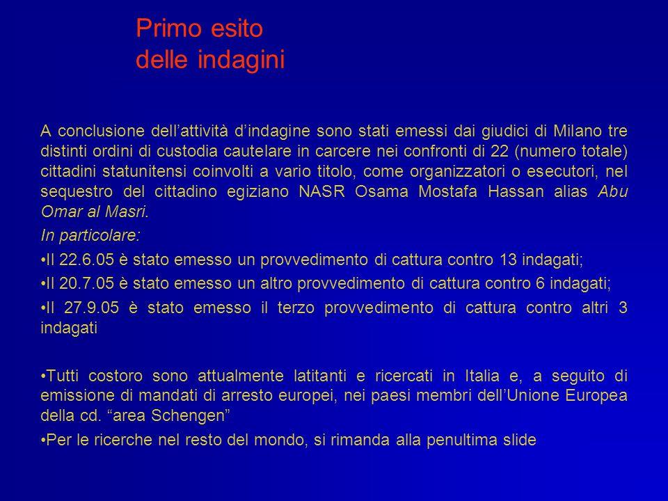Primo esito delle indagini A conclusione dellattività dindagine sono stati emessi dai giudici di Milano tre distinti ordini di custodia cautelare in c