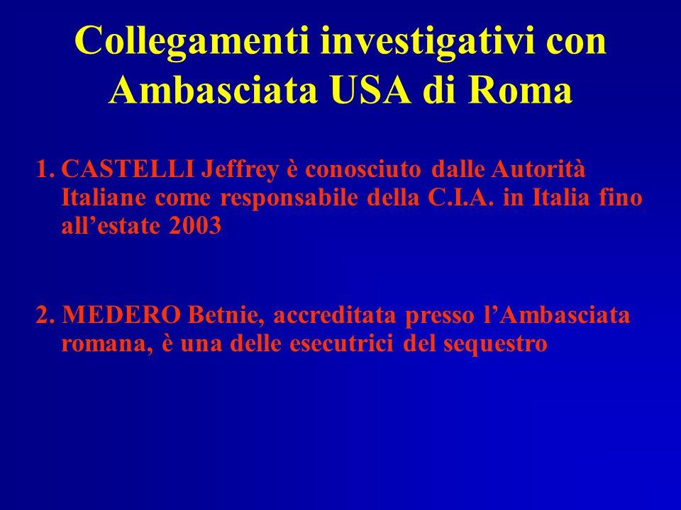 Collegamenti investigativi con Ambasciata USA di Roma 1.CASTELLI Jeffrey è conosciuto dalle Autorità Italiane come responsabile della C.I.A. in Italia