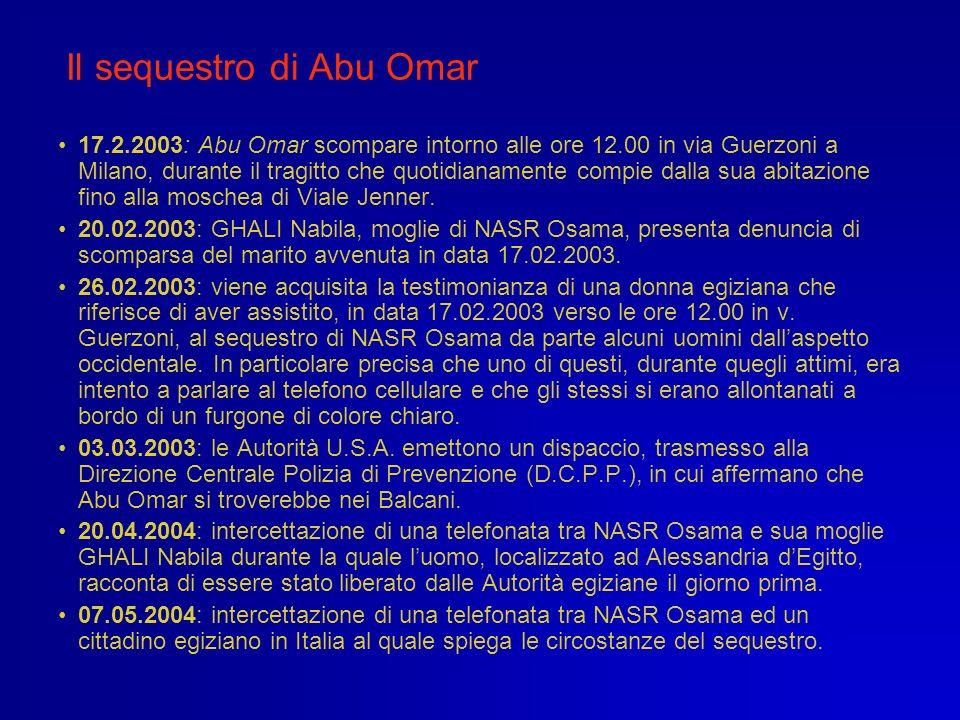 Il sequestro di Abu Omar 17.2.2003: Abu Omar scompare intorno alle ore 12.00 in via Guerzoni a Milano, durante il tragitto che quotidianamente compie