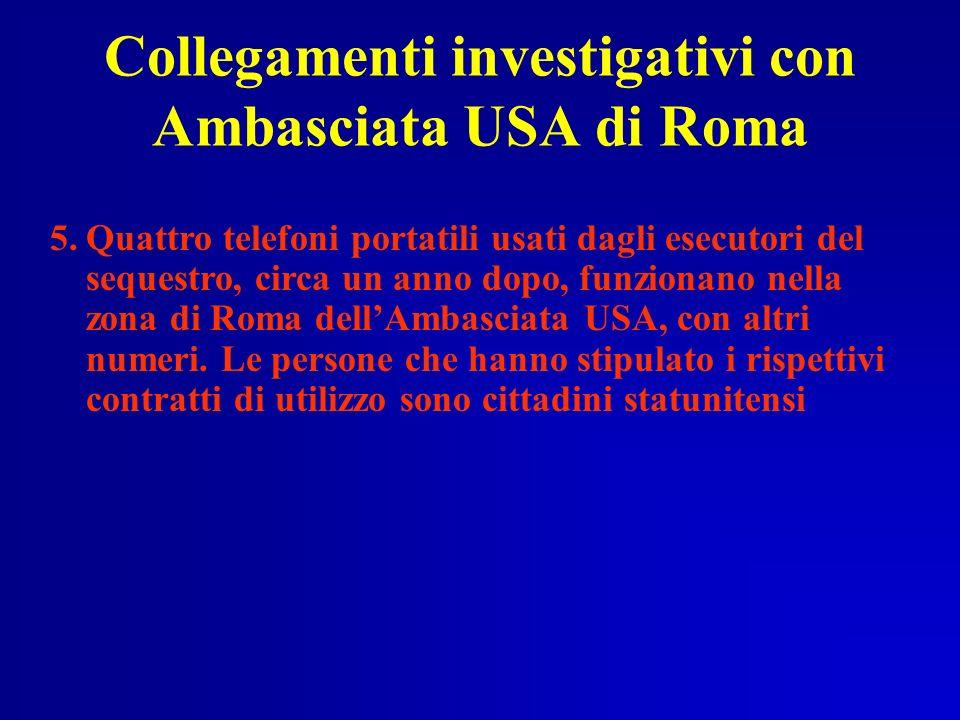 Collegamenti investigativi con Ambasciata USA di Roma 5.Quattro telefoni portatili usati dagli esecutori del sequestro, circa un anno dopo, funzionano