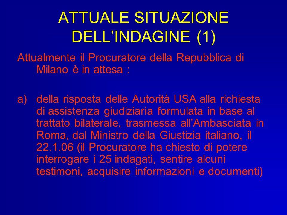 ATTUALE SITUAZIONE DELLINDAGINE (1) Attualmente il Procuratore della Repubblica di Milano è in attesa : a)della risposta delle Autorità USA alla richi