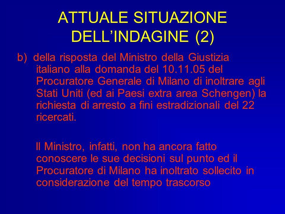 ATTUALE SITUAZIONE DELLINDAGINE (2) b) della risposta del Ministro della Giustizia italiano alla domanda del 10.11.05 del Procuratore Generale di Mila