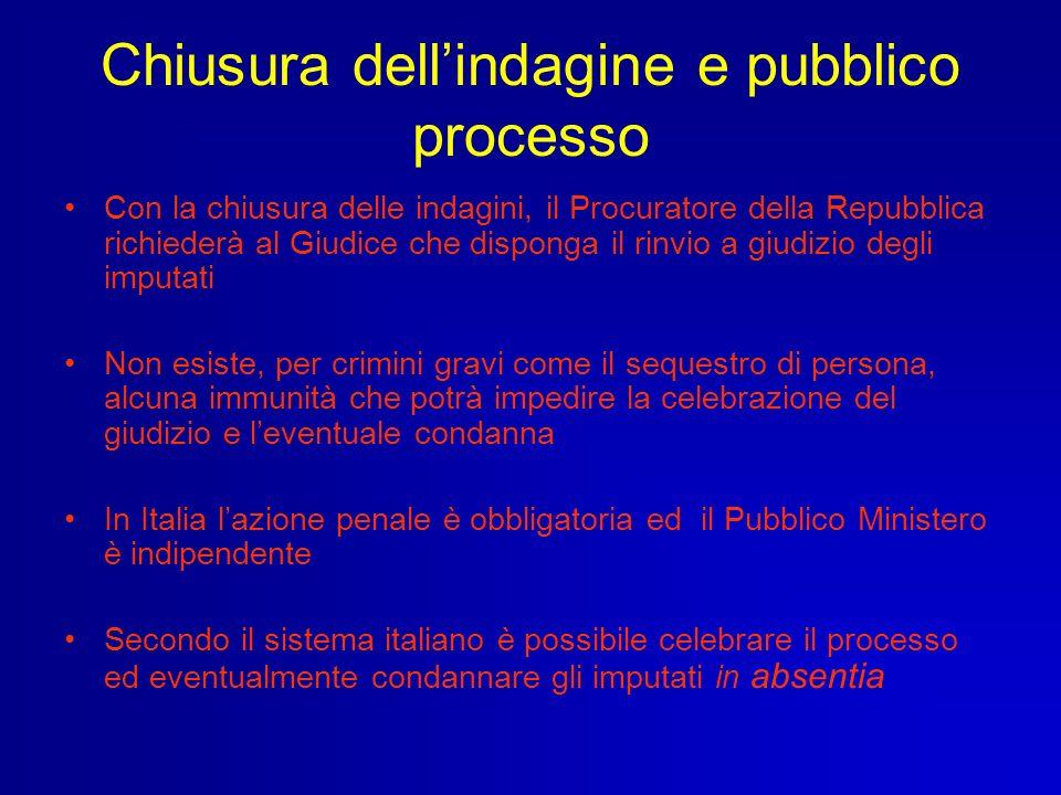 Chiusura dellindagine e pubblico processo Con la chiusura delle indagini, il Procuratore della Repubblica richiederà al Giudice che disponga il rinvio