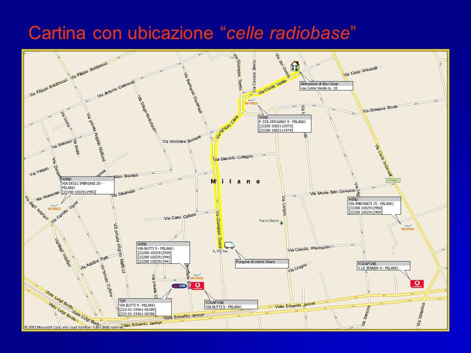 Acquisizione traffico delle celle radiobase E stato acquisito il traffico telefonico delle utenze che, tra le ore 11.00 e le 13.00 del 17.02.2003, hanno utilizzato come CHIAMANTI oppure come CHIAMATE le celle radiobase ubicate nei dintorni di via Guerzoni.