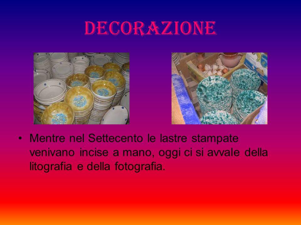 Decorazione Le ceramiche vengono dipinte prima della cottura. Gli ossidi metallici impiegati insieme alle vetrine richiedono temperature elevate per f