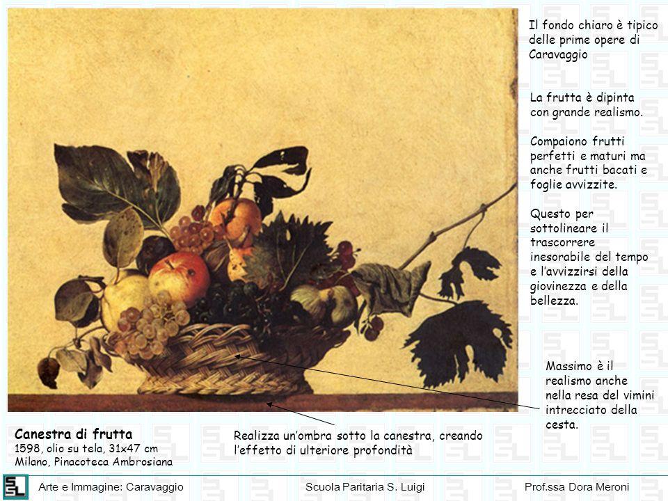 Arte e Immagine: CaravaggioScuola Paritaria S. LuigiProf.ssa Dora Meroni Canestra di frutta 1598, olio su tela, 31x47 cm Milano, Pinacoteca Ambrosiana