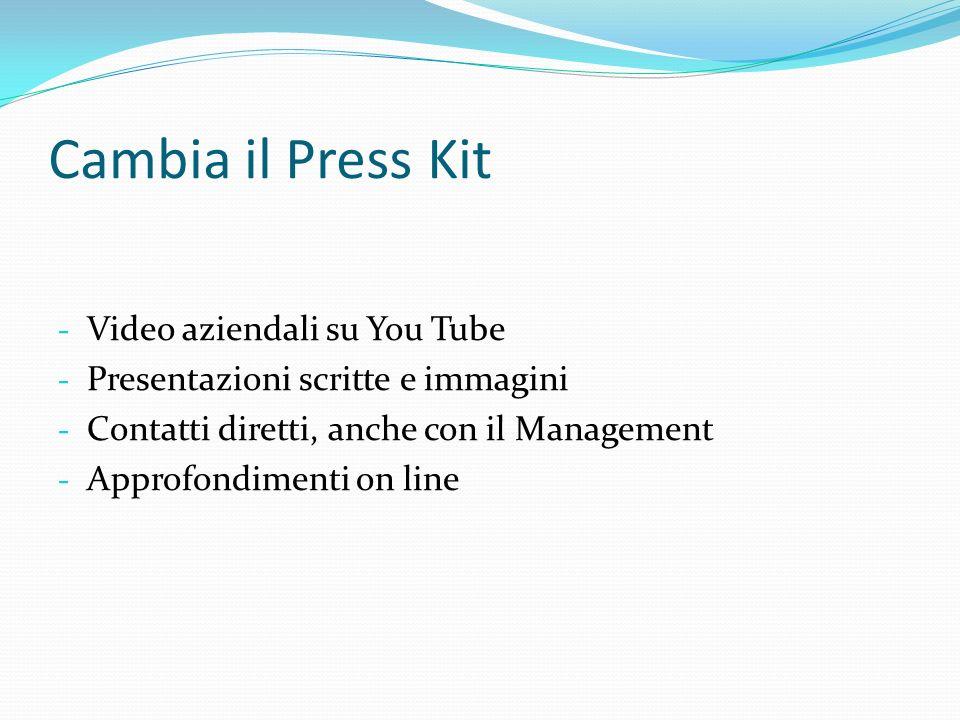 Cambia il Press Kit - Video aziendali su You Tube - Presentazioni scritte e immagini - Contatti diretti, anche con il Management - Approfondimenti on line