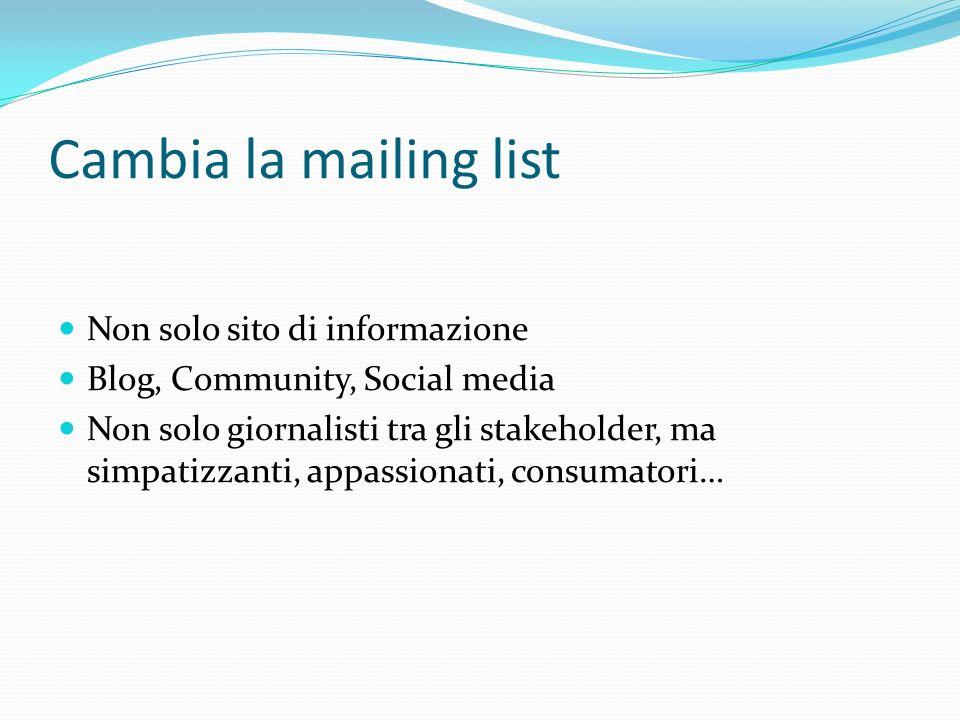 Cambia la mailing list Non solo sito di informazione Blog, Community, Social media Non solo giornalisti tra gli stakeholder, ma simpatizzanti, appassionati, consumatori…