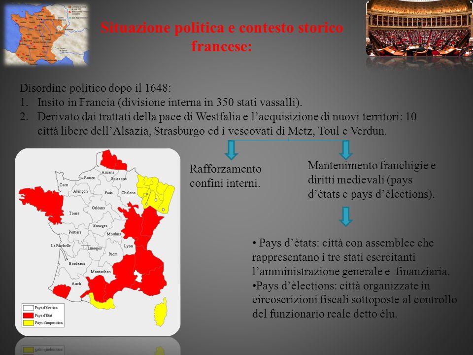 Situazione politica e contesto storico francese: Disordine politico dopo il 1648: 1.Insito in Francia (divisione interna in 350 stati vassalli). 2.Der